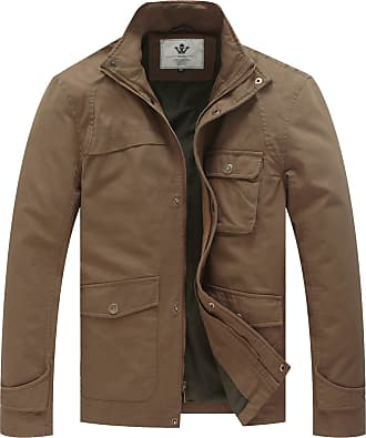 WenVen Mens Cotton Military Jacket with Removable Hood Khaki Medium