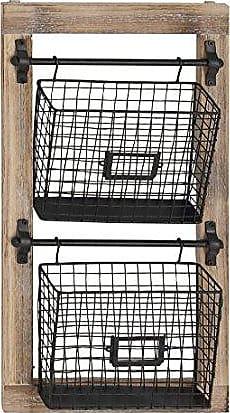 UMA Enterprises Inc. Deco 79 58645 Basket Wall Rack, Black/Brown