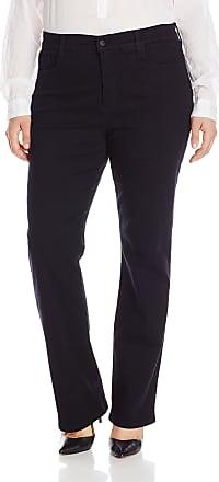 NYDJ Womens Plus-Size Marilyn Straight in Classic Overdyed Denim Jeans, Black, 28W