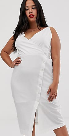 Urban Bliss asymmetric wrap midi dress-White