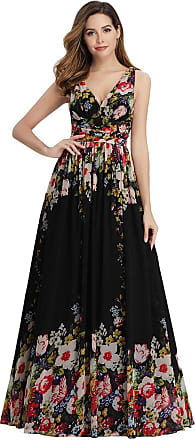 Ever-pretty Womens Classic V Neck Floor Length Empire Wasit Long Chiffon Floral Print Evening Formal Dress Black and Printed 28UK