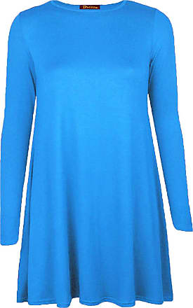 Re Tech UK Womens Ladies Long Sleeve Midi Plain Flared A line Skater Swing Dress Jersey Tee Turquoise