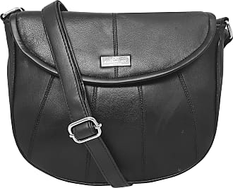 Quenchy London Ladies Cross-Body Shoulder Handbag, Designer Bag in Black Soft leather, Phone Holder Pocket Single Adjustable Across Chest Strap QL185K