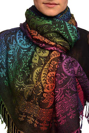 Liss Kiss Mirrored Ombre Paisleys On Black Pashmina Feel With Tassels - Black Pashmina Floral Scarf