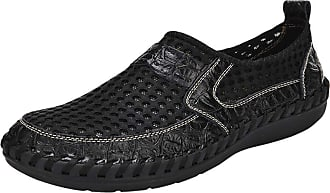Daytwork Men Casual Leather Loafers - Mens Hollow Out Slip On Driving Boat Shoes Breathable Handmade Round Toe Moccasins Lightweight Black