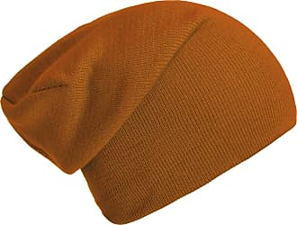 DonDon winter hat slouch beanie warm classical design modern and soft orange brown