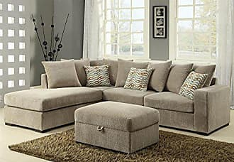 Coaster Fine Furniture 500044 Sectional Sofa, Taupe/Brown