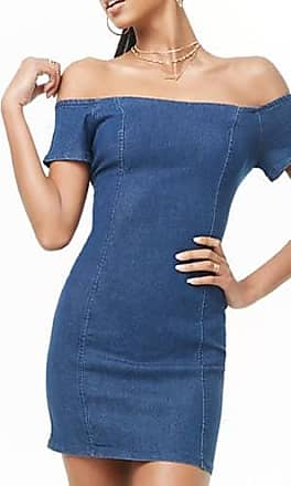 664009b672a12 Forever 21 Forever 21 Off-the-Shoulder Denim Dress, Medium Denim