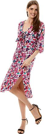 101 Resort Wear Vestido 101 Resort Wear Midi Viscose com Nó no Decote e Mangas Bufantes Estampada Flor Rosa