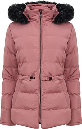 TOKYO LAUNDRY AKSEL COLOUR BLOCK QUILTED PUFFER JACKET WITH HOOD IN  RED size XL