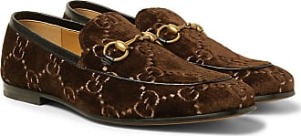 fe4e02708 Gucci New Jordaan Horsebit Leather-trimmed Logo-embroidered Velvet Loafers  - Dark brown