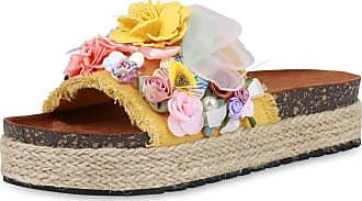 Scarpe Vita Women High-Heeled Sandals Mules Flower Bast 190748 Yellow UK 3.5 EU 36