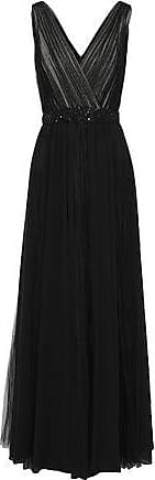 Badgley Mischka Badgley Mischka Woman Embellished Pleated Tulle And Chiffon Gown Black Size 6
