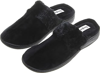 Dearfoams Womens Faux Fur Velour Clog Slippers; Black (Large, 9-10)