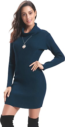 Aibrou Women Turtleneck Sweater Dress,Long Sleeve Soft Warm Vintage Knit Stretchable Elasticity Slim Fit Jumper Body Con One Piece Dress(Blue XXL)