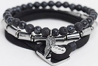 Icon Brand Set da 3 bracciali in camoscio sintetico e perline-Nero