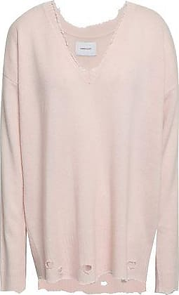 Current Elliott Current/elliott Woman Distressed Wool And Cashmere-blend Sweater Pastel Pink Size 2