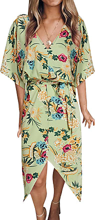 Yoins Women Floral Print V Neck Dress Half Sleeves Crossed Front Maxi Dresses for Vacation Beach Green