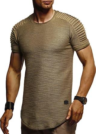 LEIF NELSON Mens T-Shirt Round Neck Collar LN-6325 Khaki XX-Large