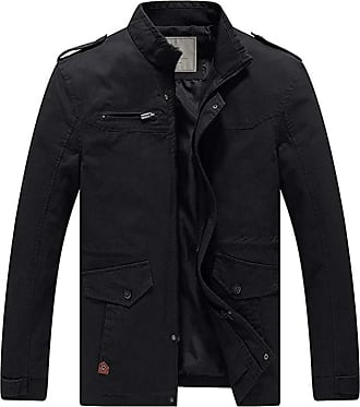 WenVen Mens Zipped Cotton Jackets Black Small