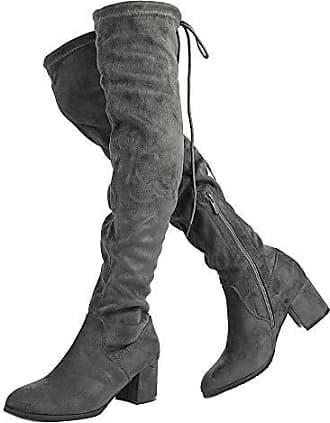 Damen Wildleder Overknee Kniehohe Stretch Winterstiefel Blockabsatz Boots Stiefe