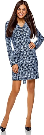 oodji Collection Womens Belted Jersey Dress, Blue, UK 16 / EU 46 / XXL