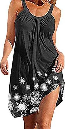 Longra Damen Chiffon Kleid Strandkleid Blumen Druckkleid Floral Sommerkleid Spaghettitr/äger Kleid Knielang /ärmellos Runder Kragen A-Linie Tunikakleid Frauen Bohemian Beachwear Strandtunika
