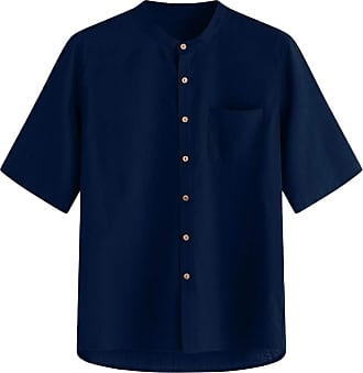 ZYUEER Mens Short Long Sleeve Casual Formal Regular Fit Mens Purity Color Cotton Button Pocket Short Sleeve Stand Collar Shirt Navy XL Loose Comfortable Shir