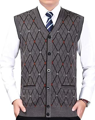 Yonglan Mens Diamond Pattern Knitted Vest Cardigans V-Neck Sleeveless Button Waistcoat Knitwear Tank Tops with Pockets Coffee XXL