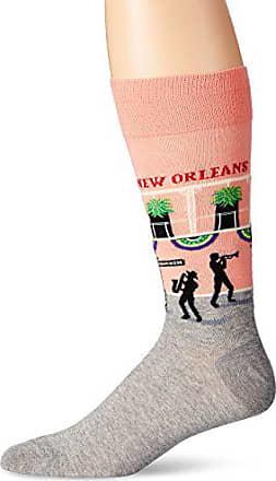 Hot Sox Mens Fashion Travel Crew Socks, New Orleans (Peach), Shoe Size: 6-12