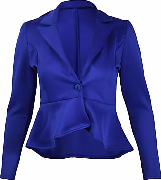 Purple Hanger Womens New Peplum Frill Fitted Jackets Ladies Long Sleeve Flared Slim Fit Blazer Jacket Plus Size Royal Blue Size 26