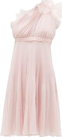 Giambattista Valli Ruffle-trimmed Pleated One-shoulder Silk Dress - Womens - Light Pink