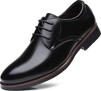 LanFengeu Men Formal Shoes Comfortable Non Slip Oxford Lace up Derbys Male Business Wedding Pointed Toe Leather Dress Shoe Black