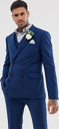 Asos wedding skinny double breasted suit jacket in blue wool mix twill