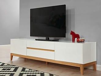 Venta-Unica.com Mueble TV SEDNA - 2 puertas y 2 cajones - Roble macizo y MDF lacado blanco