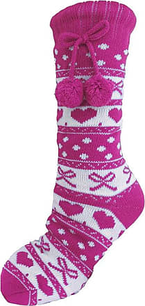Foxbury Ladies Novelty Christmas HEART FAIRISLE Pom Pom PINK GREY BLUE SLIPPER SOCKS WARM FLEECE LINING Size UK 4-7
