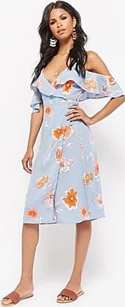 Forever 21 Forever 21 Open-Shoulder Floral Wrap Dress Blue/multi
