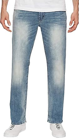 Bleached and Veined Buffalo David Bitton Six-X Straight Fit Whiskered Acid Washed Jeans 32 x 32