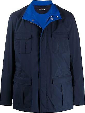 Kiton high-neck parka jacket - Blue