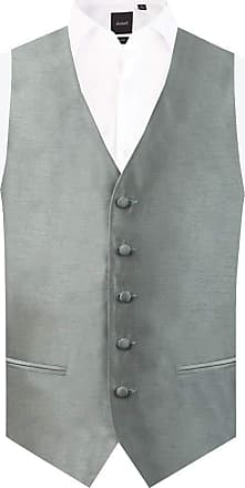 Dobell Mens Silver Waistcoat Regular Fit Dupion 5 Button-2XL (50-52in)