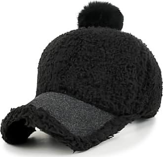 Ililily Short Faux Fur Baseball Cap Soft Pompom Adjustable Trucker Hat, Black