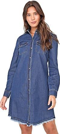 Only Vestido Chemise Jeans Only Curto Desfiado Azul
