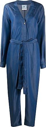 Forte_Forte belted v-neck jumpsuit - Blue
