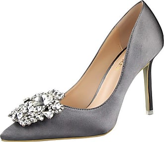 99f771f7ab4 Mashiaoyi Womens Pointed-Toe Stiletto Slip-on Diamond Court Shoes 5 UK Grey