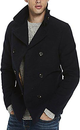 Scotch   Soda Brushed Cotton Classic AMS Blauw Pea Coat, Blouson Homme,  Bleu ( 8ee5ab9215d