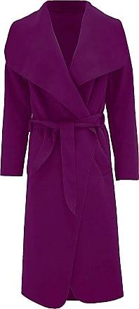 Top Fashion18 Women Long Waterfall Italian Duster Coat French Belted Trench Waterfall Coat Size 8-22 Purple