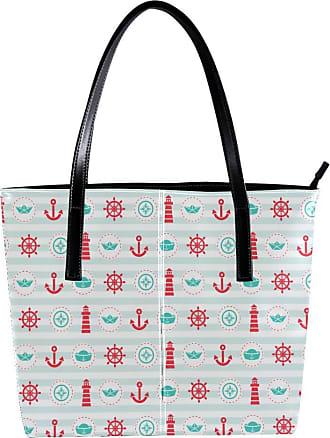 Nananma Womens Bag Shoulder Tote handbag with Colorful Nautical Elements Pattern Zipper Purse PU Leather Top-handle Zip Bags