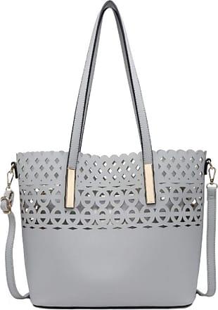 Girly HandBags Girly HandBags Laser Cut Top Handle Bag - Grey