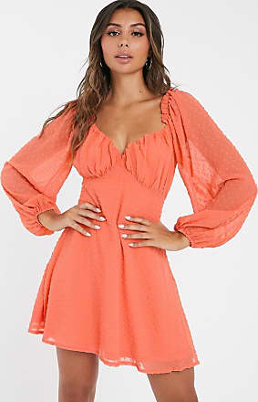 Missguided dobby milk maid mini dress with balloon sleeve in coral-Pink