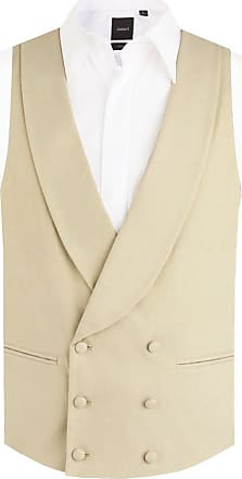 Dobell Mens Gold/Buff Morning Suit Wedding Waistcoat Regular Fit Shawl Lapel Double Breasted-2XL (50-52in)